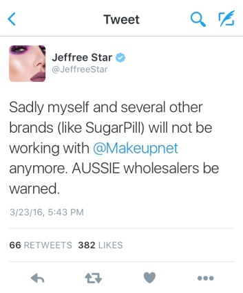 Jeffree Star tweet